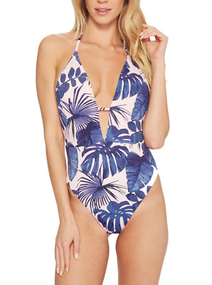 The Bikini Lab Why Cant We Be Fronds Light Pink One Piece Swimsuit Sz L 7413