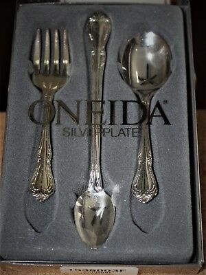 Vintage Baby First Youth Child Spoon Fork 3 PC Set Oneida LTD Silver Plate - NIB