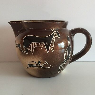 Primitive African Design Creamer Brown Ceramic Tribal Hand Painted South Africa
