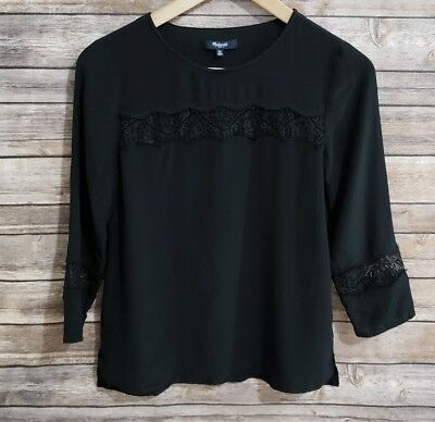 Madewell Silk Lace Inset Top Blouse Black XS