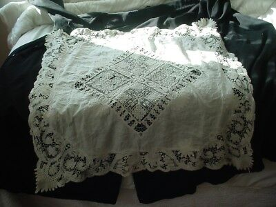Antique Italian Lace Tablecloth Ribbon Insertion Ornate