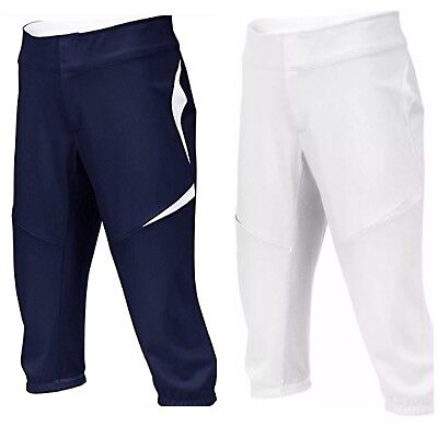 Nike Women's Fastpitch Softball Pants White Navy Blue Size Med Turn Two 3/4 Gray