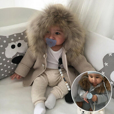 Baby Infant Toddler Girls Boys Warm Fur Hooded Knitting Cardigan Coat Outwear .