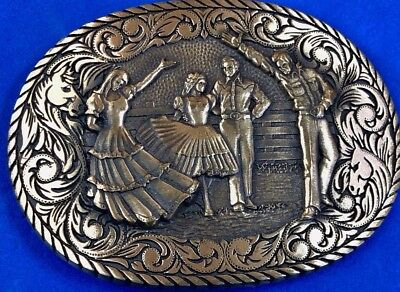 vintage ADM solid brass couple at formal ball dancing belt buckle