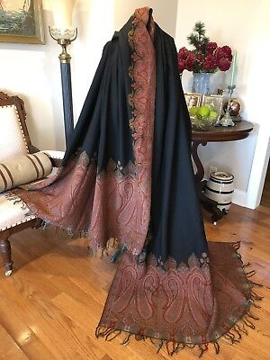 Antique *VICTORIAN Kashmir Wool PAISLEY LONG Piano-Table FRINGED Shawl 10.5Ft NR