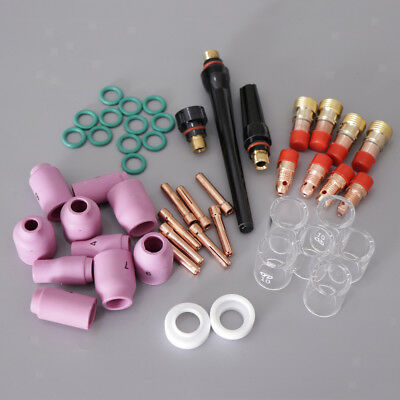 49 Pcs TIG Welding Torch Pyrex Cup Gas Kits for WP-17/18/26 Accessories Set