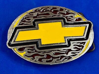Yellow Chevy Logo through flames  metal  Belt Buckle by GM 2005 Bergamot R261