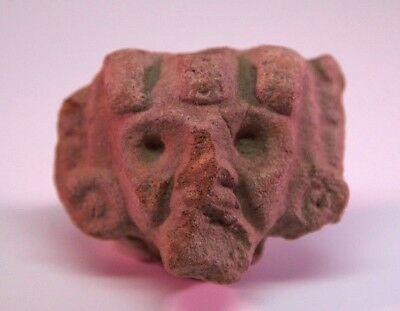 Authentic Clay Pre Columbian Head Aztec Mayan Olmec Mexican Mitlantecuhtli