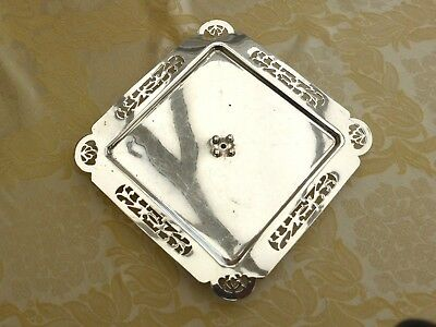 Vintage Square Silver Plated Footed Dish With Pierce Work Pattern   1370947/952
