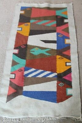 """Vintage Textile Art Hand Woven Tribal Wool Rug, Wall Hanging, Abstract Fish 44"""""""