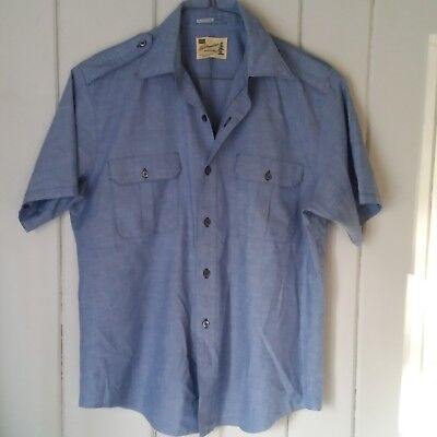 be529f4bc1094 Sears Fieldmaster Vtg S S Button Front Shirt Large 16-18 Blue Chambray Blend