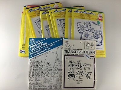 20 Hot iron Transfers Aunt Martha's Pretty Punch Banar cross stitch embroidery