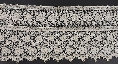 Antique Edwardian Floral Chemical Lace Trim W Scalloped Bottom Edge