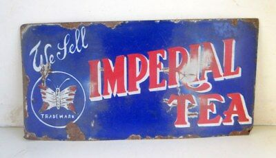 1930's Antique Old Rare Collectible Imperial Tea Ad Porcelain Enamel Sign Board