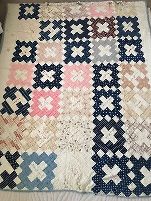 Antique Friendship Quilt Dated 1888 Embroidered Hand Pieced Hand Quilted Cutter