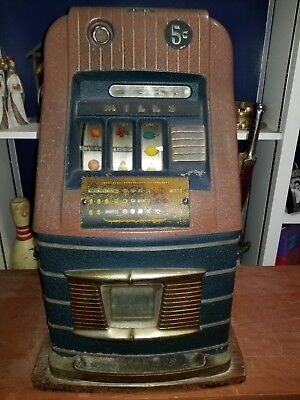 Antique Mills High Top 5 cent Nickel Slot Machine 1940's Art Deco