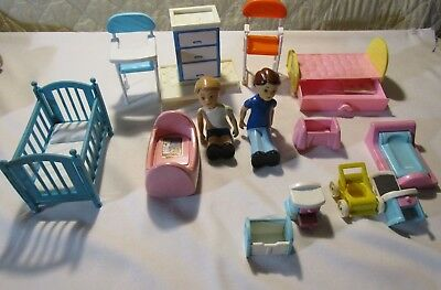 15 pc. Little Tikes furniture-doll sz.-beds, cribs, toy box, trundle bed, figure