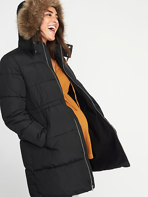 Old Navy Maternity Long-Line Hooded Frost-Free Puffer Jacket Black Nwt Sz L