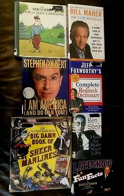 LOT OF 7 HUMOROUS EX-LIBRARY HB'S~New Yorker/Foxworthy/Maher/Letterman+~FREE SHP