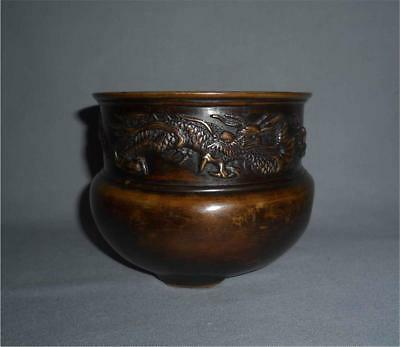 Antique Japan TOP HIGH AGED EDO MEIJI BRONZE MARKED INCENSE BOWL WITH DRAGONS