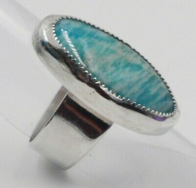 Sterling Silver Aqua Teal Blue Agate Stone Ring - Size 8.5 - Men's Women's