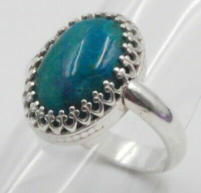 Sterling Silver Teal Blue Agate Stone Ring - Size 6 - Men's Women's - Classic