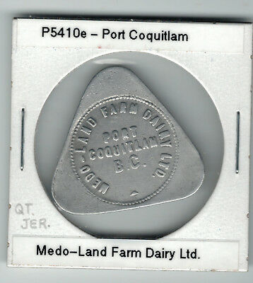 B.C.  , Port Coquitlam , Medo Land Dairy , good for 1 quart jersey milk P5410e