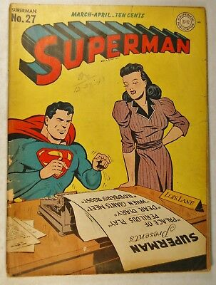 Superman #27 (Mar-Apr 1944, DC) Lois Lane Cover - The Toy Man returns