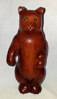 Brown Bear Wooden Figurine Cabin Decor Northwoods Green Jewel Eyes 8 in