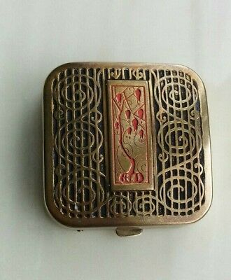 Vintage Marshall Fields Art Deco Flair Lanchere Enamel Powder Compact 1920-1930s