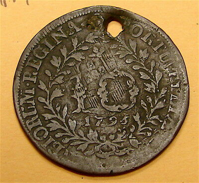 1795~~~ Portugal Azores 10 Reis Foreign Coin----HOLED-----200 year old Coin