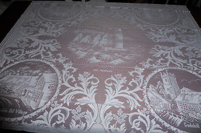 Beautiful  White Lace Panel /Square Table Cloth Isle of Wight Shanklin & others
