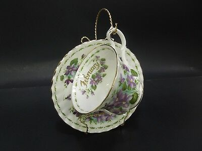 Royal Albert Bone China 2 pc February Violets Flower of The Month set