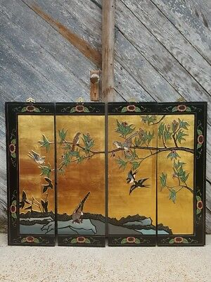 Vintage Black Asain Oriental Wall Screen