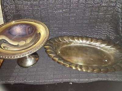 WM Rogers Silverplate Footed Bowl/Candy Dish and serving tray