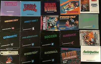 Lot of 20 Manuals / Instructions For Nintendo NES Games: Dragon Warrior, etc.