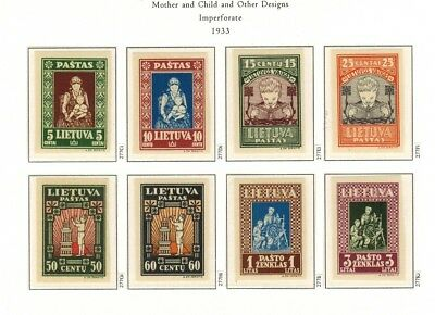 Lithuania #277C-277K Complete Imperf Set 1933 MNH