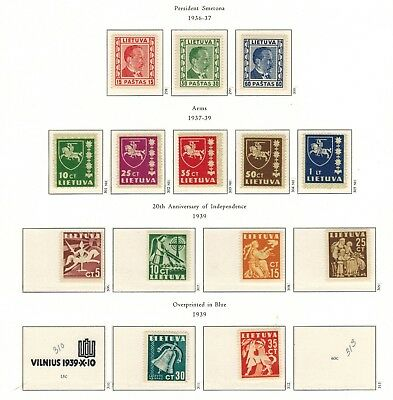Lithuania #298-305,317-322 Complete Set 1936-40 MNH