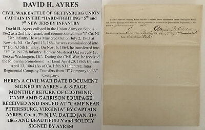 CIVIL WAR GETTYSBURG CAPTAIN 5th 7th NEW JERSEY INFANTRY DOCUMENT SIGNED VIRGINI