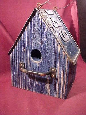 Weathered Look Birdhouse with Vintage 1967 Ohio Farm License Plate Roof