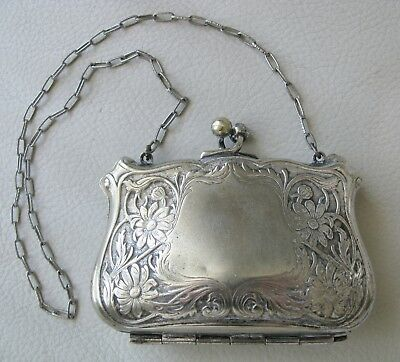 Antique Art Nouveau Floral Crest Cartouche G Silver Card Case Compact Coin Purse