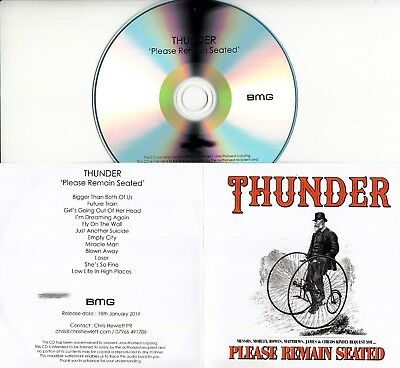THUNDER Please Remain Seated 2019 UK 12-trk numbered promo test CD