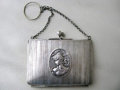 Antique Art Nouveau Woman Silver T Pinstripe Finger Ring Card Case Coin Purse