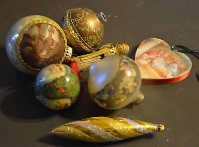 Lot of 7 Vintage Victorian Style Gold Christmas Ornaments Assortment-2 Religious