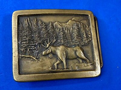 vintage 1976 Elk Moose Deer in nature Mountains Indiana metal Craft Belt Buckle