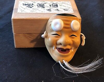 Vintage Chinese Opera MINI Clay MASK in Wood Box