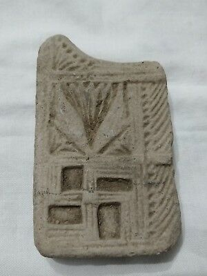 RARE Ancient Indian Clay Tablet Decorated with Swastika and Ornate Patterns!!