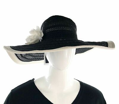 8ae1cb5d28a Nine West Womens 22158 Packable Floral Super Floppy Hat Black White ONE SIZE  Sun