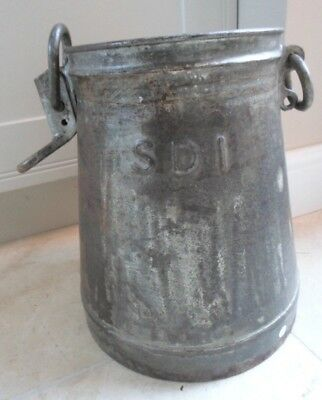 Vintage French metal milk churn with chains, umbrella stand, planter
