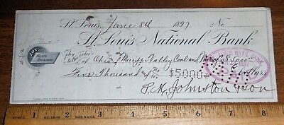 SIGNED 1897 Ohio&Mississippi Valley Coal &Mining Co Check/St.Louis Missouri Bank